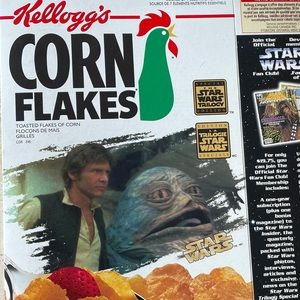 Star Wars 1997 Cornflakes box with 3-D art on back